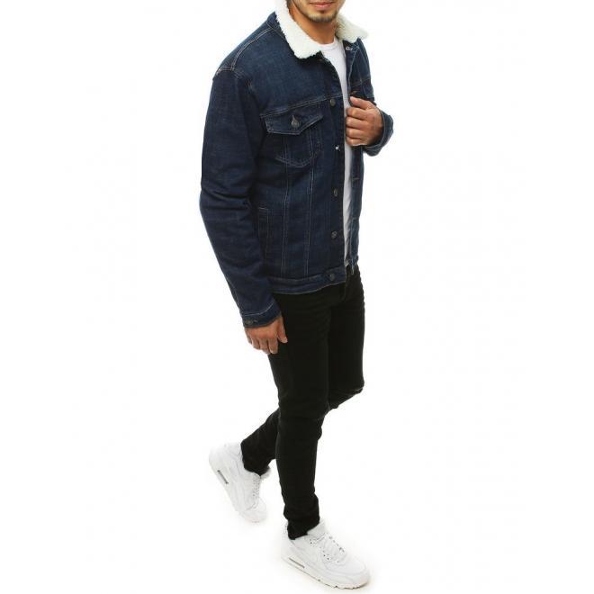 Pánská riflová bunda s kožešinou v tmavě modré barvě