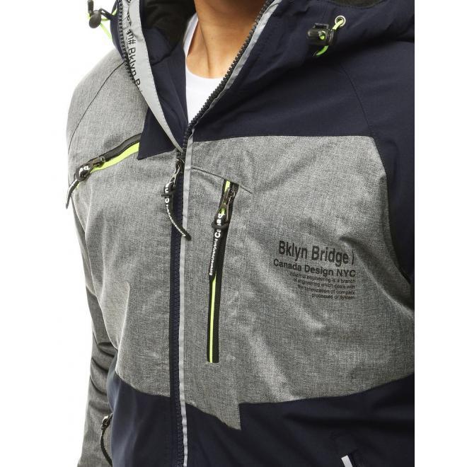 Tmavě modrá zimní bunda s reflexními prvky pro pány