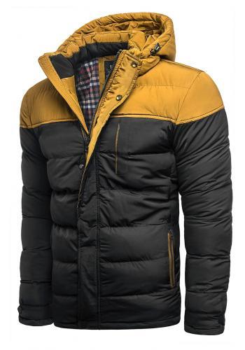 Černá prošívaná bunda na zimu pro pány