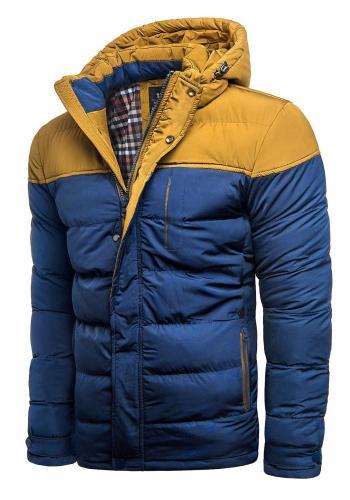 Pánská prošívaná bunda na zimu v modré barvě