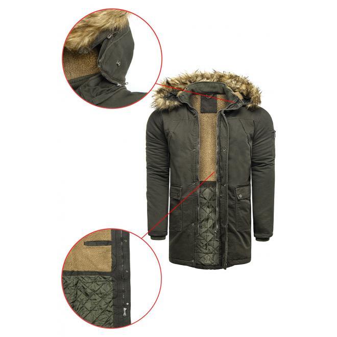 Zimní pánská bunda khaki barvy s kapucí