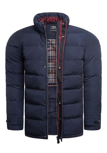 Tmavě modrá prošívaná bunda na zimu pro pány