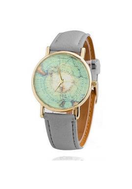 Šedé hodinky s koženým řemínkem pro dámy
