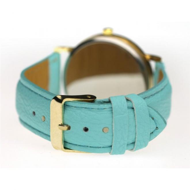 Retro dámské hodinky mátové barvy s koženým páskem