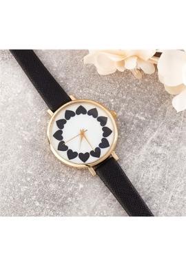 Dámské hodinky se srdíčky v černé barvě
