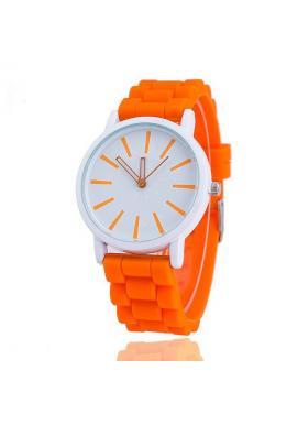 Oranžové hodinky na silikonovém řemínku pro dámy