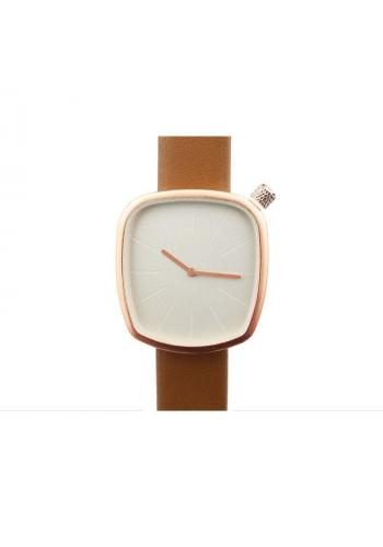 Dámské klasické hodinky s koženým páskem v hnědé barvě