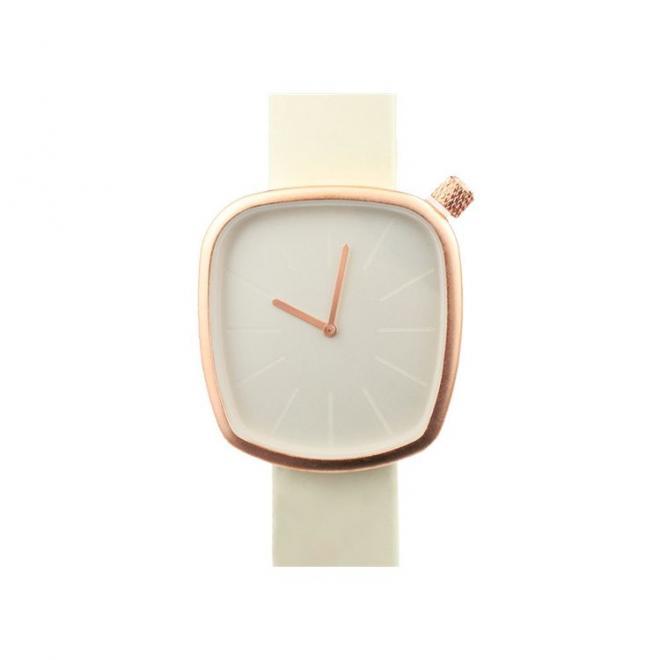 Klasické dámské hodinky krémové barvy s koženým páskem