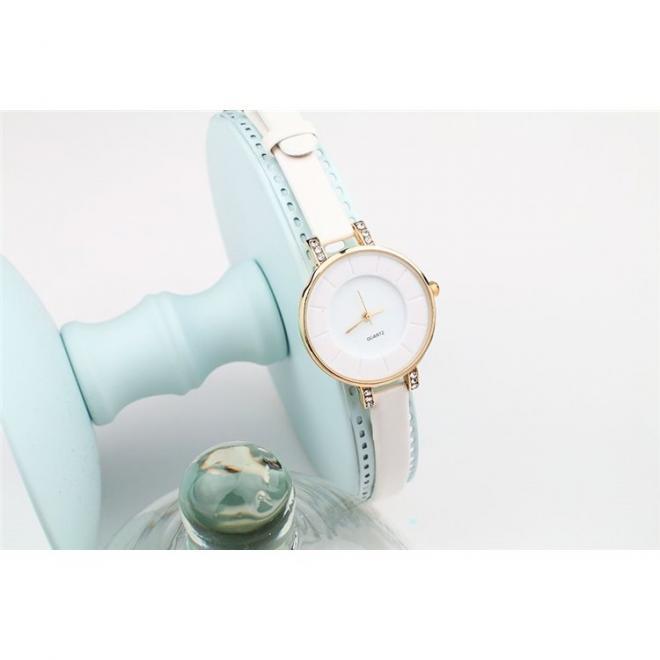 Růžové elegantní hodinky s dvojitým řemínkem pro dámy