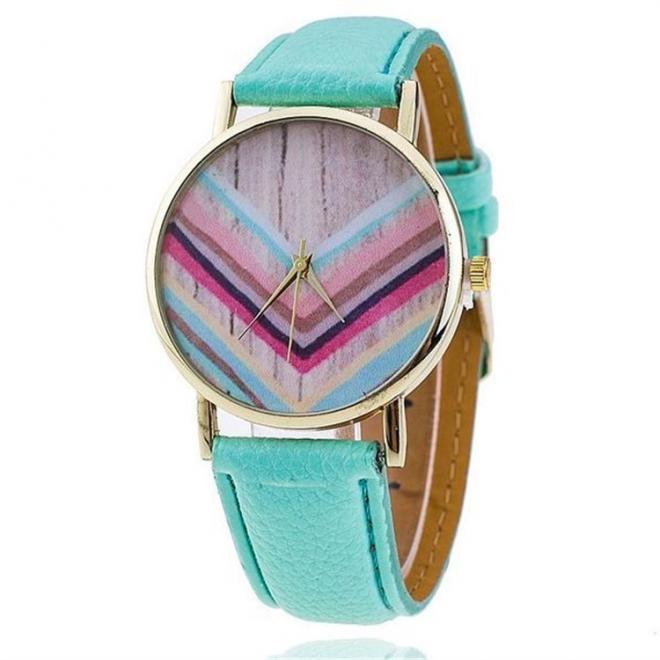 Dámské mátové hodinky s motivem dřeva na ciferníku