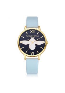 Modré hodinky se zlatým ciferníkem pro dámy