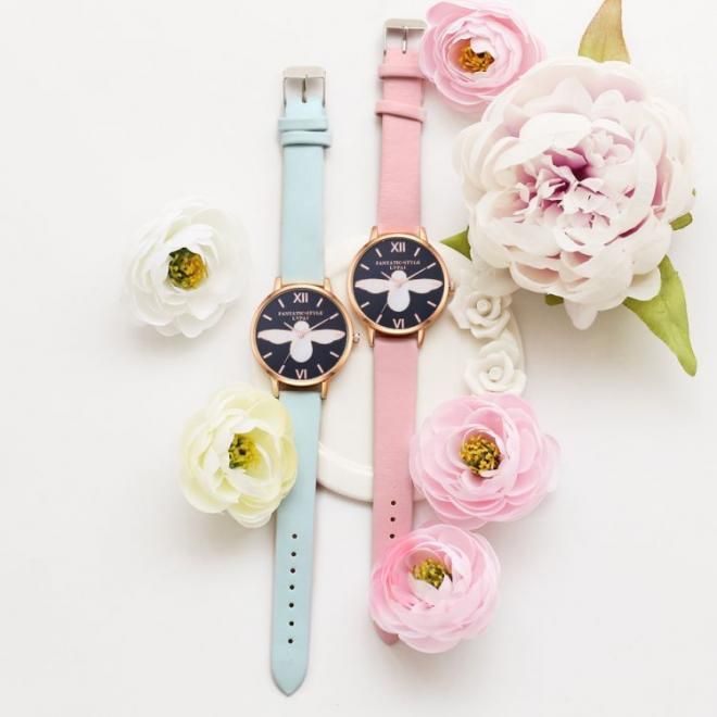 Dámské hodinky v modré barvě s růžovo-zlatým ciferníkem