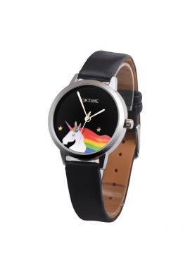 Dámské hodinky Oktime s jednorožcem v černé barvě