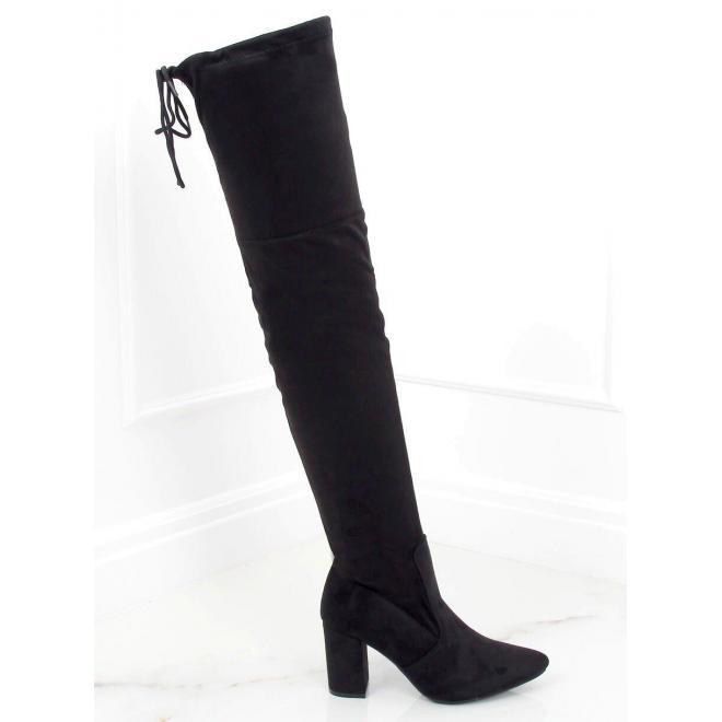 Černé semišové kozačky nad kolena na podpatku pro dámy