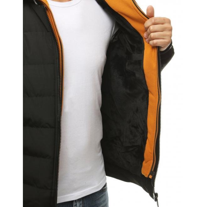 Pánská prošívaná bunda na zimu v černé barvě