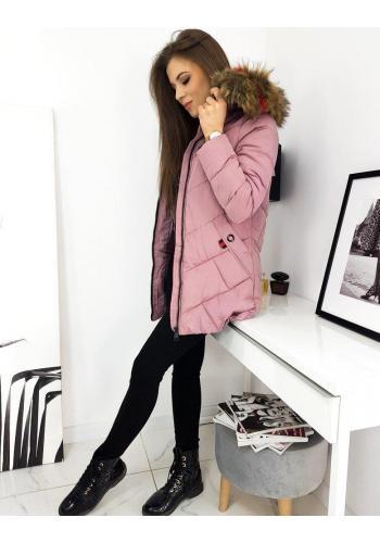 Prošívaná dámská bunda růžové barvy na zimu ve výprodeji