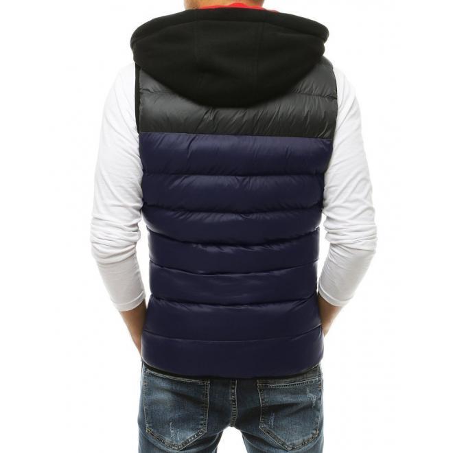 Prošívaná pánská vesta tmavě modré barvy s teplákovou kapucí