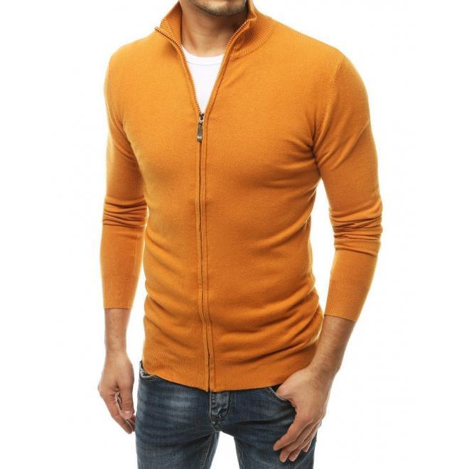 Žlutý zapínaný svetr se stojacím límcem pro pány