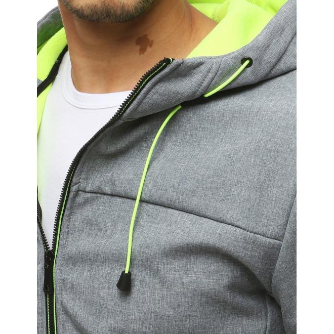 Softshellové pánské bundy šedé barvy s kapucí