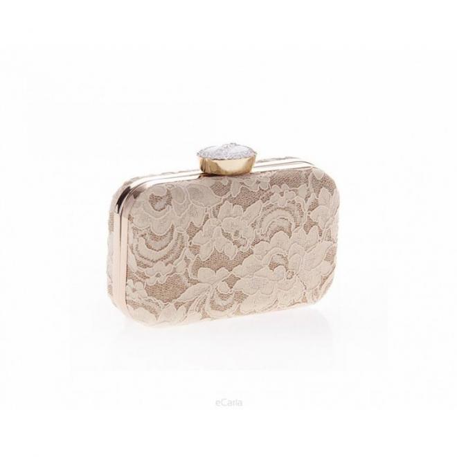 Dámská společenská kabelka s krajkou béžové barvy