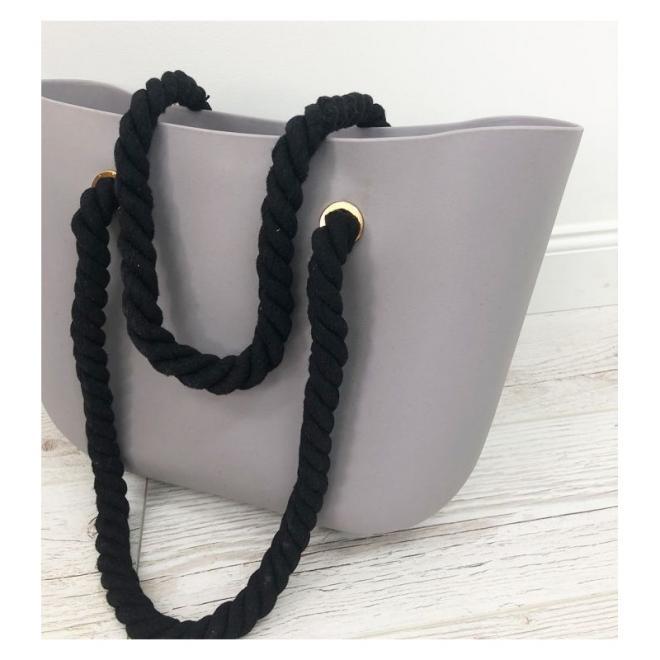 Dámská silikonová kabelka s černými držadly v šedé barvě