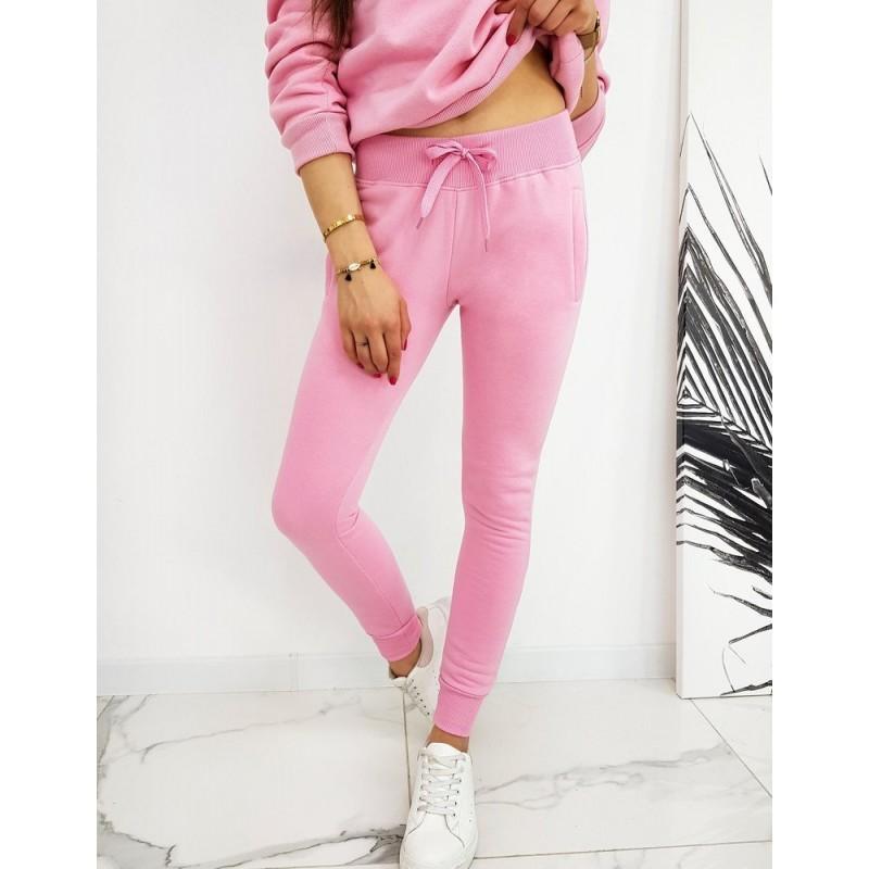 Dámské sportovní tepláky v růžové barvě