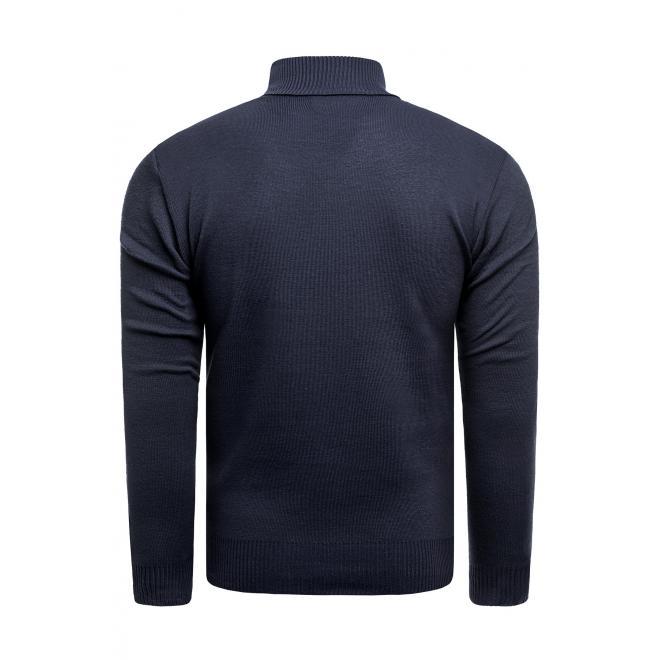 Tmavě modrý módní svetr se zapínaným výstřihem pro pány