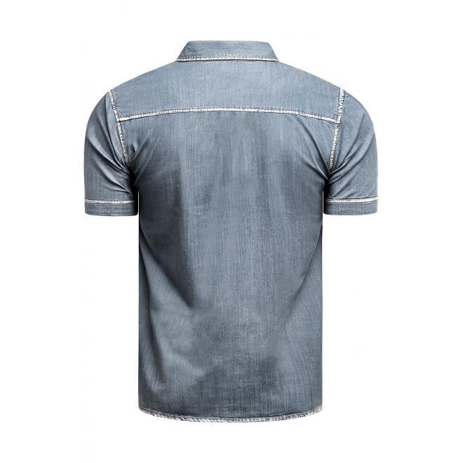 Riflová pánská košile modré barvy s kontrastním vzorem