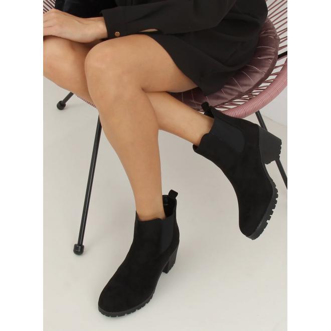 Semišové dámské kozačky černé barvy na širokém podpatku