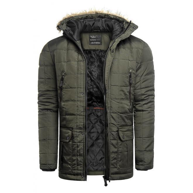 Prošívaná pánská bunda khaki barvy na zimu