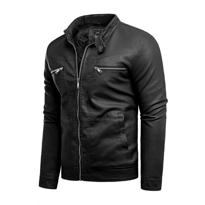 Černá kožená bunda na přechodné období pro pány
