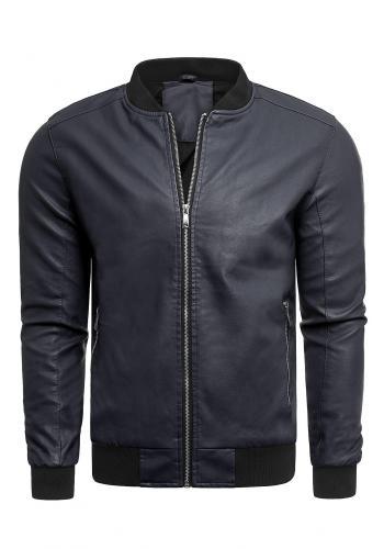 Přechodná pánská kožená bunda tmavě modré barvy