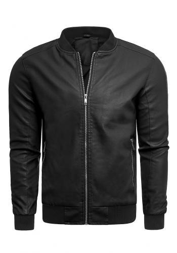 Černá přechodná kožená bunda pro pány