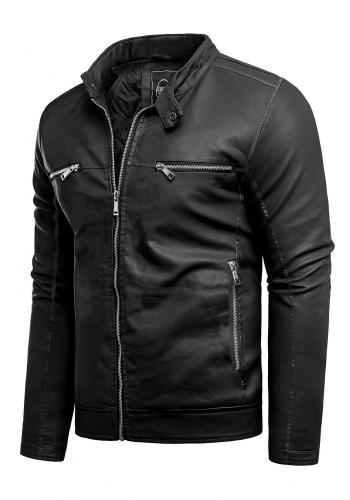 Kožená pánská bunda černé barvy na jaro