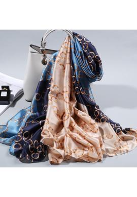 Elegantní dámská šifónová šála modro-béžové barvy se vzorem