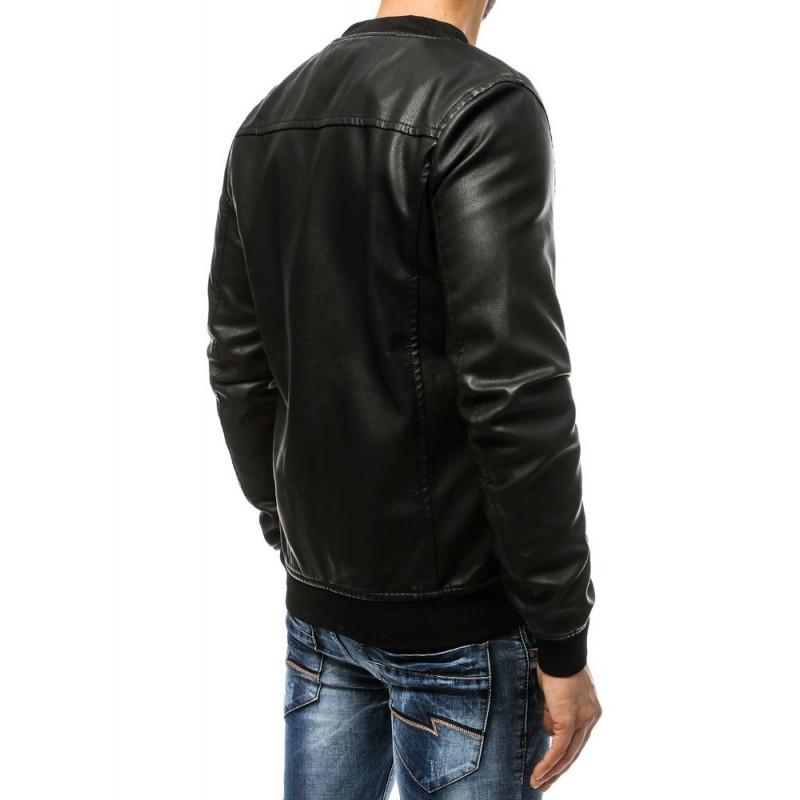 Pánská koženková bunda v černé barvě