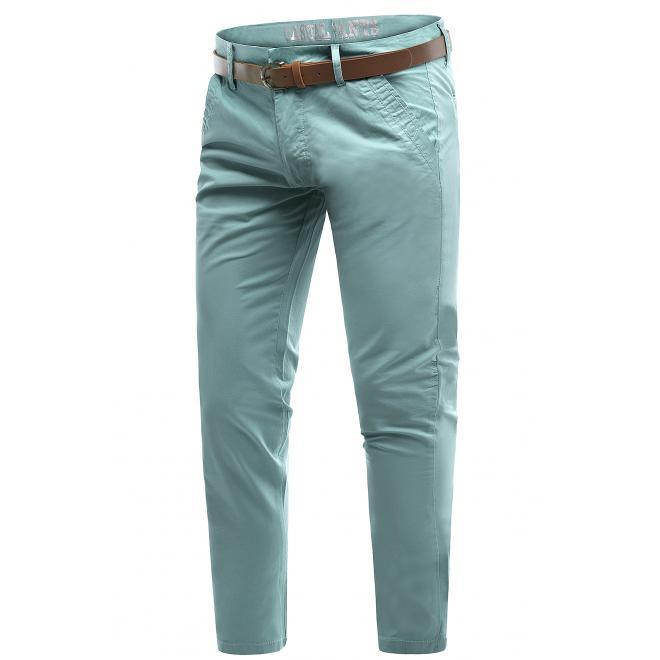 Tyrkysové bavlněné chinos kalhoty pro pány
