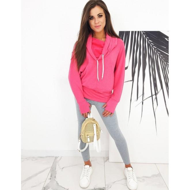 Sportovní dámská mikina růžové barvy s límcem