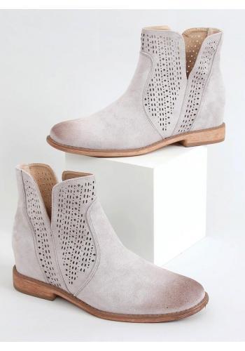 Dámské ažurové boty na skrytém podpatku v šedé barvě