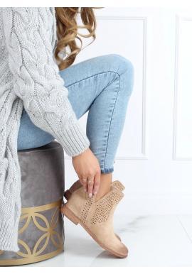 Béžové ažurové boty na skrytém podpatku pro dámy