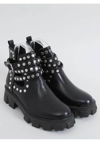 Dámské stylové boty s vybíjením v černé barvě
