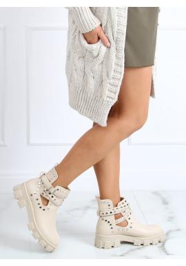 Stylové dámské boty béžové barvy s vybíjením