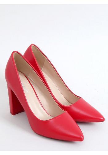 Červené klasické lodičky na stabilním podpatku pro dámy
