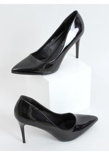 Černé lakované lodičky na štíhlém podpatku pro dámy