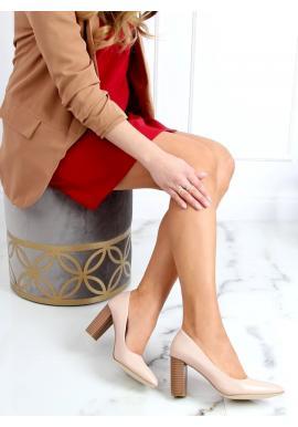 Matné dámské lodičky béžové barvy s podpatkem imitujícím dřevo