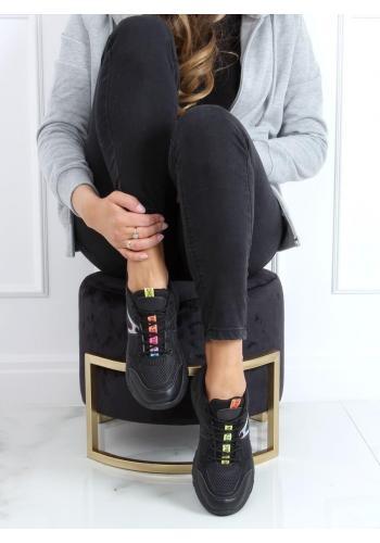 Sportovní dámské tenisky černé barvy s barevnou vložkou
