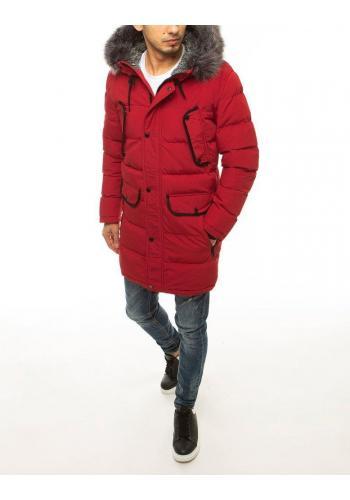 Dlouhá pánská bunda červené barvy na zimu
