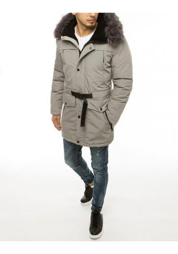 Světle šedá zimní bunda s delším střihem pro pány