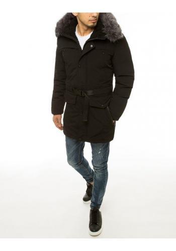 Pánské zimní bundy s delším střihem v černé barvě