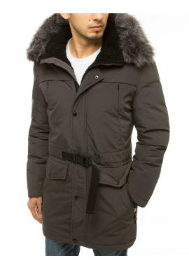 Zimní pánská bunda tmavě šedé barvy s delším střihem